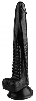 Черный анальный реалистичный стимулятор на присоске - 25,5 см.