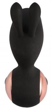 Черный вибростимулятор с ушками