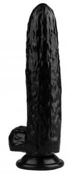 Черный фаллоимитатор-огурец на присоске - 25 см.
