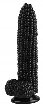 Черный фаллоимитатор-кукуруза на присоске - 20,5 см.