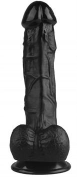 Черный реалистичный фаллоимитатор на присоске - 24 см.