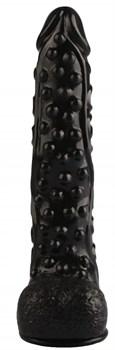 Черный реалистичный фаллоимитатор на присоске - 26,5 см.