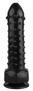 Черный фаллоимитатор с шипиками - 21,5 см.