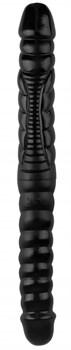 Черный двухсторонний спиралевидный фаллоимитатор - 42,5 см.