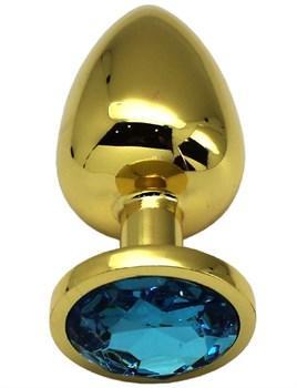 Золотистая анальная пробка с голубым кристаллом - 9 см.