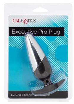 Серебристо-черная анальная пробка Executive Pro Plug - 12,75 см.