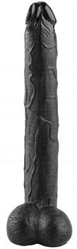 Черный реалистичный фаллоимитатор - 39,5 см.