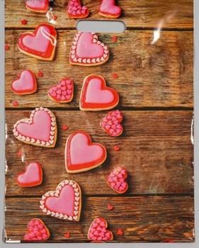 Полиэтиленовый пакет с розовыми сердечками - 31 х 40 см.