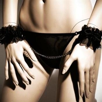 Черные наручники FROU FROU с цепочкой