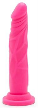 Розовый фаллоимитатор-реалистик на присоске Happy Dicks - 19 см.