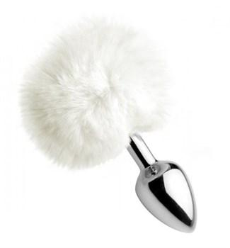 Металлическая анальная пробка с белым заячьим хвостиком White Fluffy Bunny Tail Anal Plug