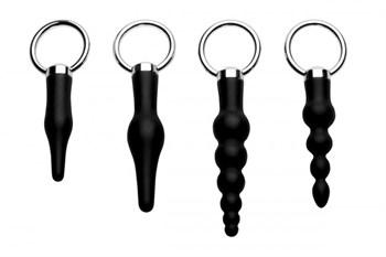 Набор из 4 анальных стимуляторов Piece Silicone Anal Ringed Rimmer Set
