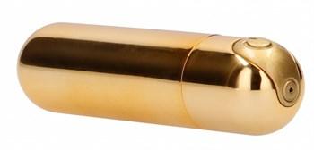 Золотистая перезаряжаемая вибропуля 7 Speed Rechargeable Bullet - 7,7 см.