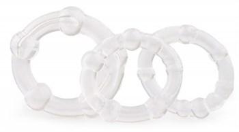 Набор из 3 прозрачных эрекционных колец с рельефом
