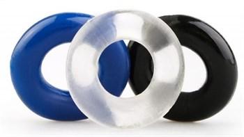 Набор из 3 эрекционных гладких колец разного цвета
