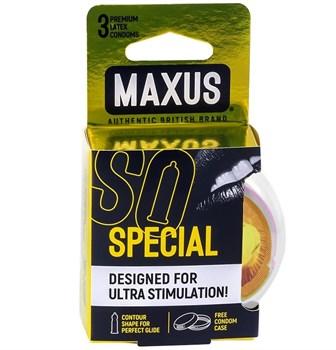 Презервативы с точками и рёбрами в пластиковом кейсе MAXUS Special - 3 шт.