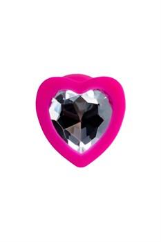 Розовая анальная втулка Diamond Heart с прозрачным кристаллом - 7 см.
