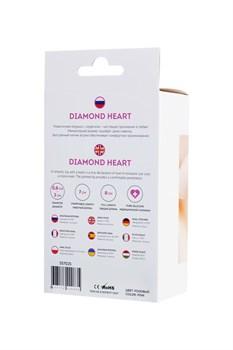 Розовая анальная втулка Diamond Heart с прозрачным кристаллом - 8 см.