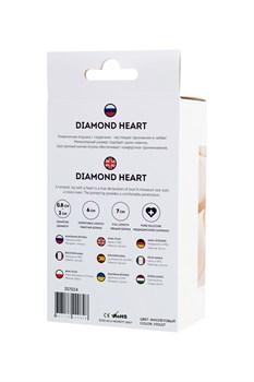 Фиолетовая анальная втулка Diamond Heart с прозрачным кристаллом - 7 см.