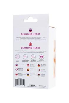 Розовая анальная втулка Diamond Heart с прозрачным кристаллом - 9,5 см.