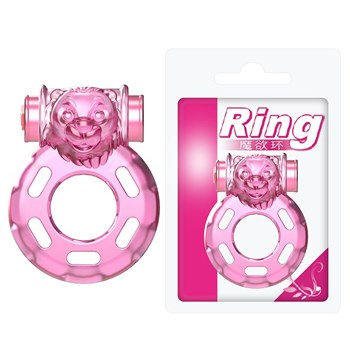 Розовое эрекционное виброкольцо Pink Bear