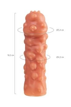 Телесная, покрытая пузырьками насадка на член - 16,5 см.