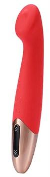 Красный вибромассажер TETHYS - 18 см.