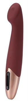 Бордовый вибромассажер TETHYS - 18 см.