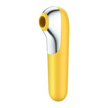 Желтый вакуум-волновой стимулятор клитора Dual Love
