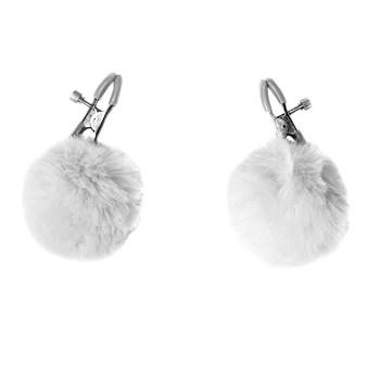 Зажимы на соски Angelic с белыми меховыми шариками