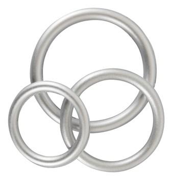 Набор из 3 эрекционных колец под металл Metallic Silicone Cock Ring Set