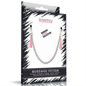 Зажимы на соски с розовыми кистями Tassel Nipple Clamp With Chain