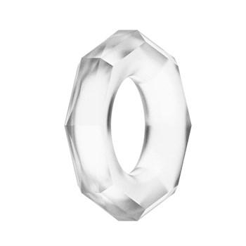 Прозрачное эрекционное кольцо с гранями POWER PLUS Cockring