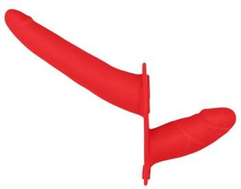 Красный двойной страпон Adjustable на ремешках - 16 см.