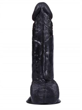 Черный вибратор-реалистик на присоске №2 - 16,3 см.
