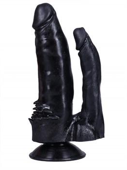 Черный сдвоенный фаллоимитатор №11 - 15,5 см.