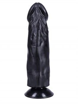 Черный фаллоимитатор-реалистик на присоске №27 - 19,5 см.