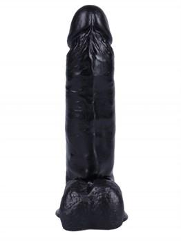 Черный вибратор-реалистик на присоске №2 - 17 см.