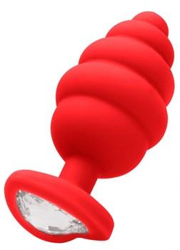Красная анальная пробка Regular Ribbed Diamond Heart Plug - 7 см.