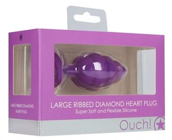 Фиолетовая анальная пробка Large Ribbed Diamond Heart Plug - 8 см.