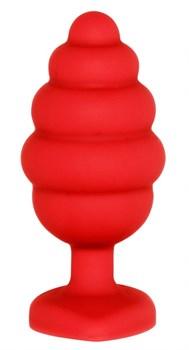 Красная анальная пробка Large Ribbed Diamond Heart Plug - 8 см.