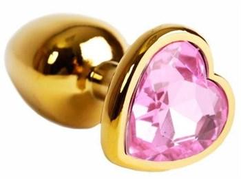 Золотистая анальная пробка с нежно-розовым кристаллом в форме сердца - 6 см.