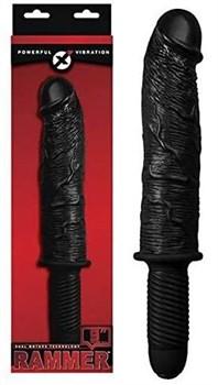 Черный вибратор-реалистик с рукоятью RAMMER