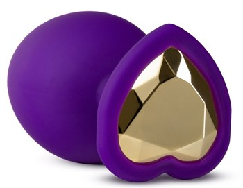 Фиолетовая анальная пробка Bling Plug Large с золотистым стразом - 9,5 см.