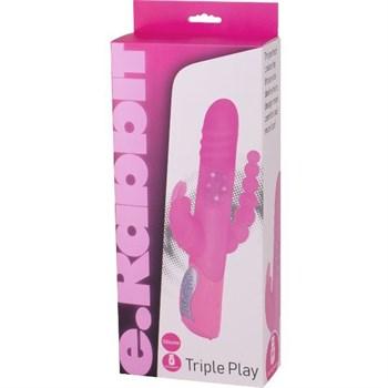 Розовый вибратор-кролик с анальным отростком E-RABBIT TRIPLE PLAY - 19 см.