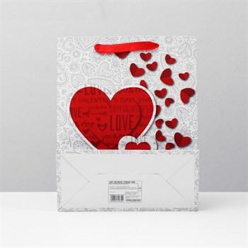 Подарочный пакет с сердечками - 32 х 26 см.