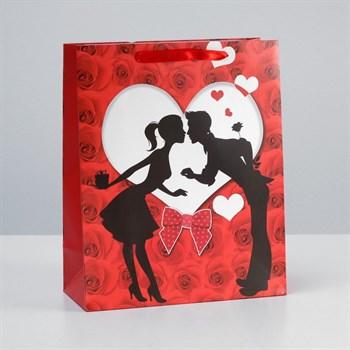 Подарочный пакет  Романтичная парочка  - 32 х 26 см.