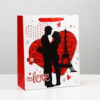 Подарочный пакет  Романтичная пара Love  - 32 х 26 см.