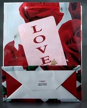 Подарочный пакет  Love  с розами - 15 х 12 см.