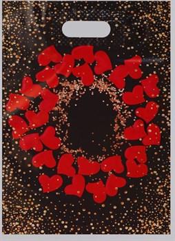 Полиэтиленовый пакет  Праздничные сердечки  - 31 х 40 см.